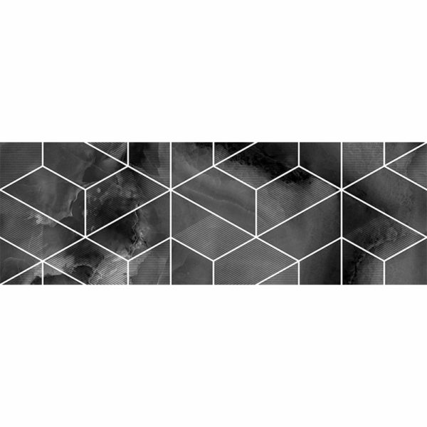 Настенная плитка Асуан 25*75 черная геометрия глянцевая